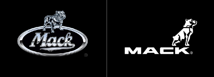Mack Trucks logo, before and after